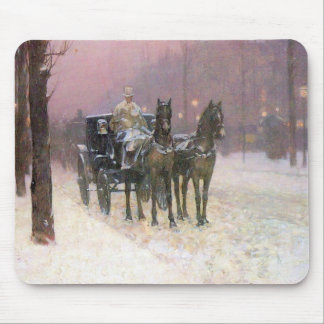 Childe Hassam - Street scene with two cabs Mouse Pad