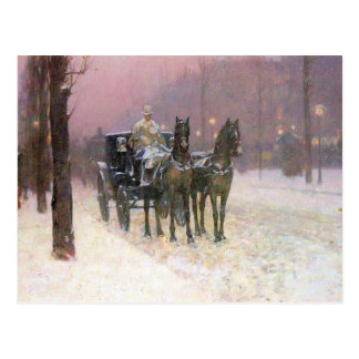 Childe Hassam - Street scene with two cabs Postcards