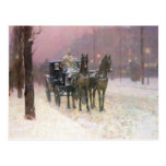 Childe Hassam - Street scene with two cabs Post Cards