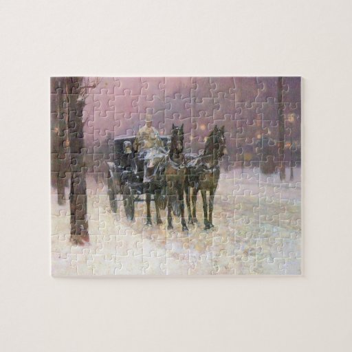 Childe Hassam - Street scene with two cabs Puzzle