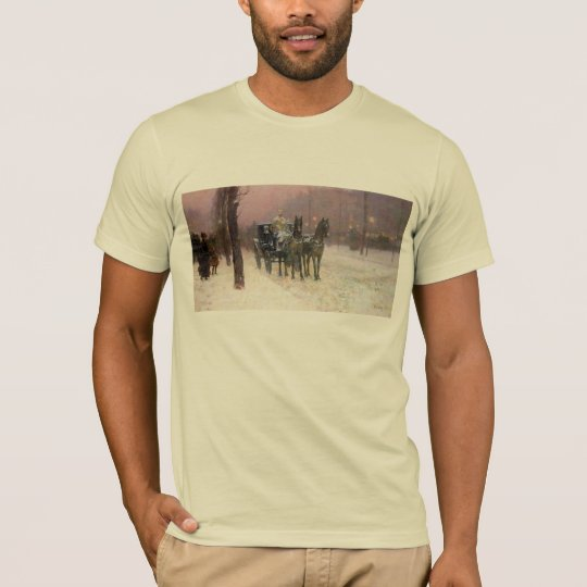 Childe Hassam - Street scene with two cabs T-Shirt