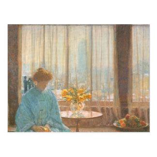 Childe Hassam - The breakfast room winter morning Postcard