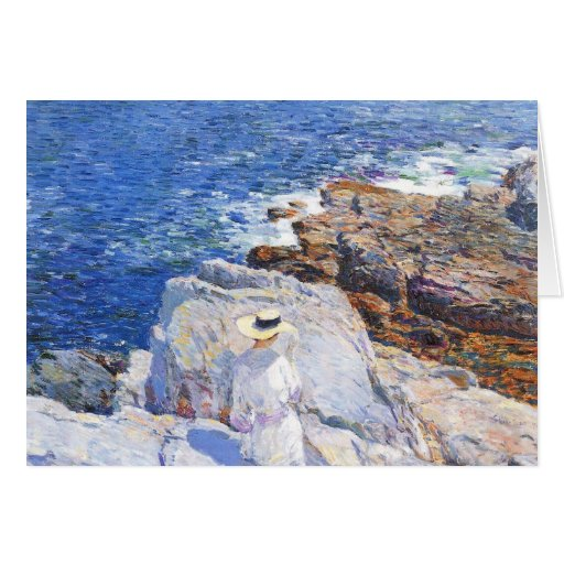 Childe Hassam - The Southern rock riffs Appledore Greeting Card