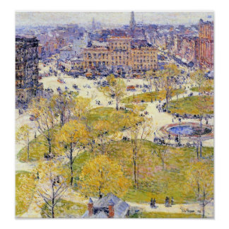 Childe Hassam-Union Square in Spring Poster