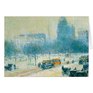 Childe Hassam - Winter in Union Square Greeting Card