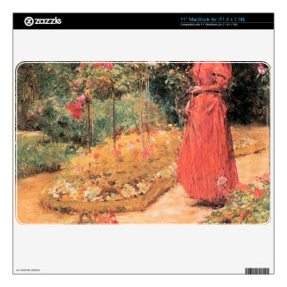 Childe Hassam - Woman cuts roses in a garden MacBook Air Decals