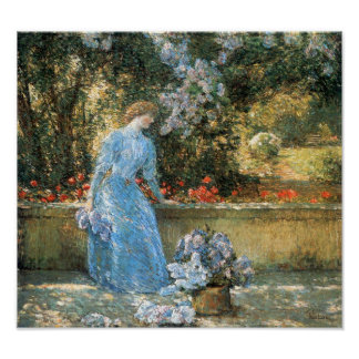 Childe Hassam-Woman in park Poster