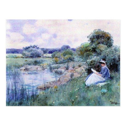 Childe Hassam - Woman reading Postcard
