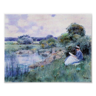 Childe Hassam-Woman reading Poster