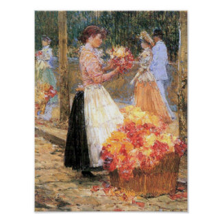 Childe Hassam-Woman sells flowers Poster