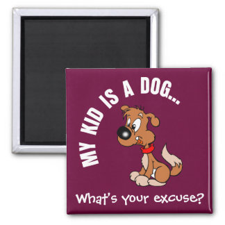 Childfree Dog Owner Vs Parents with Bad Kids 2 Inch Square Magnet