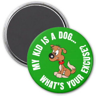 Childfree Dog Owner Vs Parents with Bad Kids 3 Inch Round Magnet