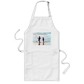 Childhood At The Beach With Text Long Apron