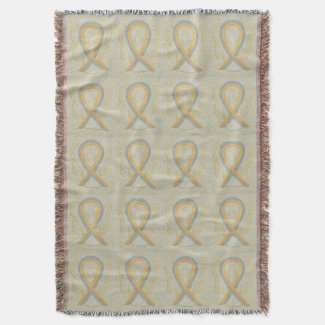 Childhood Brain Cancer Ribbon Throw Blankets
