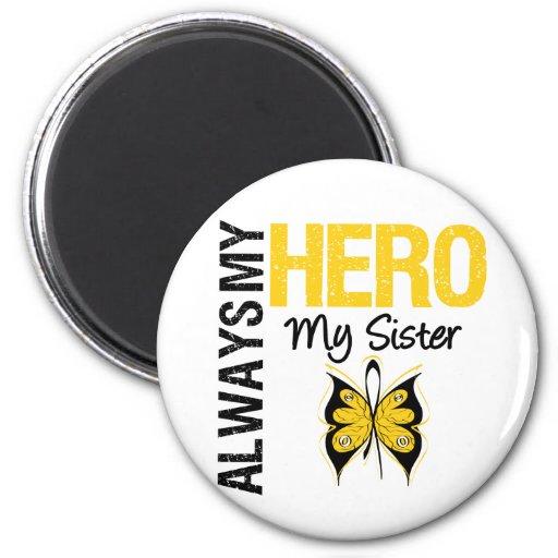 Childhood Cancer Always My Hero My Sister Fridge Magnet