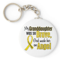 Childhood Cancer ANGEL 1 Granddaughter Keychain