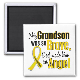 Childhood Cancer ANGEL 1 Grandson 2 Inch Square Magnet