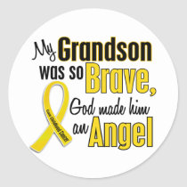 Childhood Cancer ANGEL 1 Grandson Classic Round Sticker