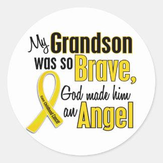Childhood Cancer ANGEL 1 Grandson Classic Round Sticker