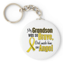 Childhood Cancer ANGEL 1 Grandson Keychain