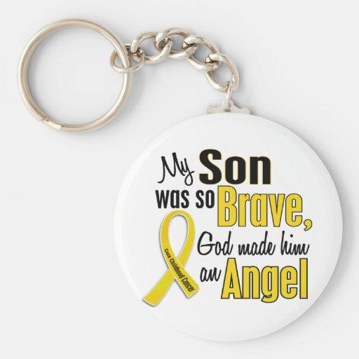 Childhood Cancer ANGEL 1 Son Basic Round Button Keychain