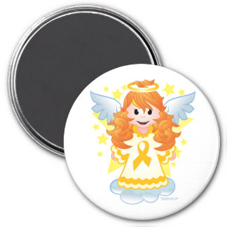 Childhood Cancer Angel Ribbon 3 Inch Round Magnet