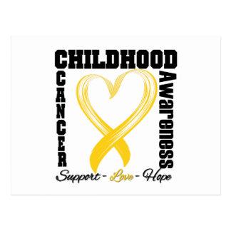 Childhood Cancer Awareness Brushed Heart Ribbon Postcard