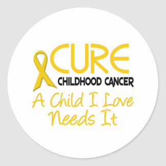 Childhood Cancer Awareness CURE Classic Round Sticker