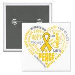Childhood Cancer Awareness Heart Words Buttons