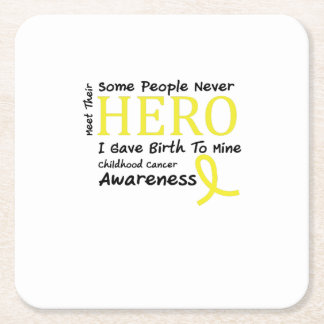 Childhood Cancer Awareness Meet My Hero Fightings Square Paper Coaster