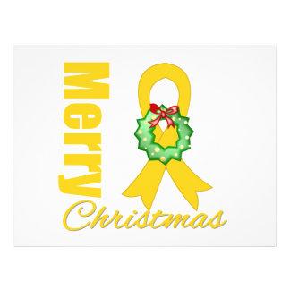 "Childhood Cancer Awareness Merry Christmas Ribbon 8.5"" X 11"" Flyer"