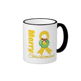 Childhood Cancer Awareness Merry Christmas Ribbon Mugs