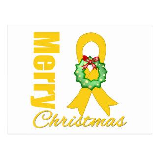 Childhood Cancer Awareness Merry Christmas Ribbon Postcard