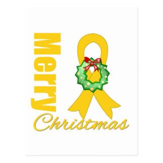 Childhood Cancer Awareness Merry Christmas Ribbon Postcards
