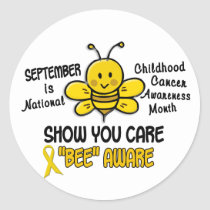 Childhood Cancer Awareness Month Bee 1.1 Classic Round Sticker