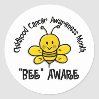 Childhood Cancer Awareness Month Bee 1 2 Round Stickers