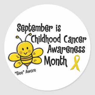 Childhood Cancer Awareness Month Bee 1.3 Classic Round Sticker