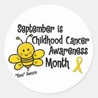 Childhood Cancer Awareness Month Bee 1.3 Round Sticker