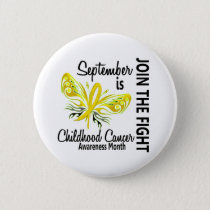 Childhood Cancer Awareness Month Butterfly 3.1 Pinback Button