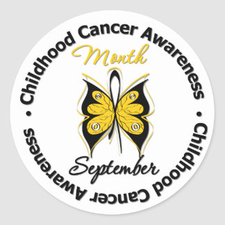 Childhood Cancer Awareness Month Butterfly v4 Classic Round Sticker