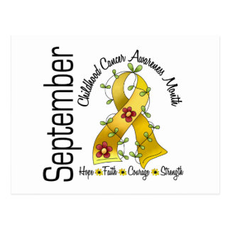 Childhood Cancer Awareness Month Flower Ribbon 1 Postcard