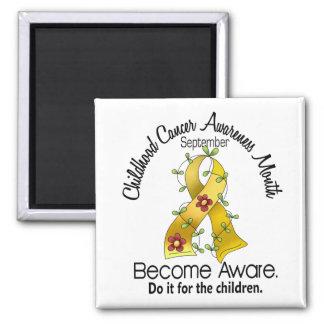 Childhood Cancer Awareness Month Flower Ribbon 2 2 Inch Square Magnet