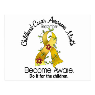 Childhood Cancer Awareness Month Flower Ribbon 2 Postcard