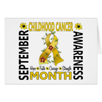 Childhood Cancer Awareness Month Flower Ribbon 4 Greeting Card