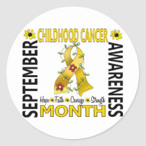 Childhood Cancer Awareness Month Flower Ribbon 4 Classic Round Sticker