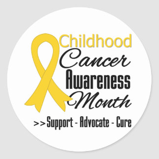 Childhood Cancer Awareness Month Gold Ribbon Classic Round Sticker