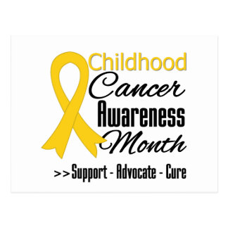 Childhood Cancer Awareness Month Gold Ribbon Post Cards