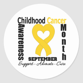Childhood Cancer Awareness Month Heart Ribbon Classic Round Sticker