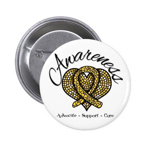 Childhood Cancer Awareness Mosaic Heart Pinback Button