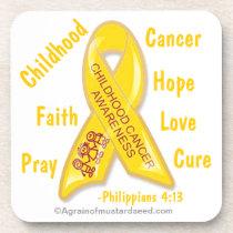 Childhood Cancer Awareness Phil 4:13 Coaster